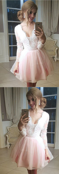Short Tulle Plunge Neck Homecoming Dress, Lace Appliques Long Sleeves Homecoming Dress ,E0762