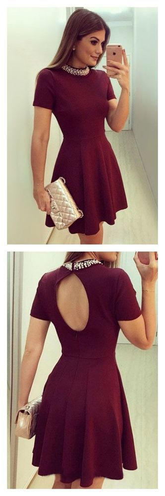 A Line Burgundy High Neck Short Sleeves Homecoming Dresses Party Dresses Prom Dress,E0768