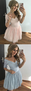 A-Line V-Neck Half Sleeves Short Pink/Blue Lace Homecoming Dress,E0772