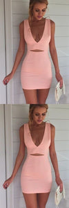 Plunge V-neck Short Homecoming Dress, Sexy Pink Cocktail Dress ,E0775