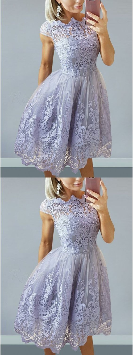 A-Line Bateau Cap Sleeves Lilac Homecoming Dress with Appliques ,E0778