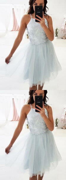 A-Line Square Above-Knee Light Blue Homecoming Dress with Appliques ,E0779