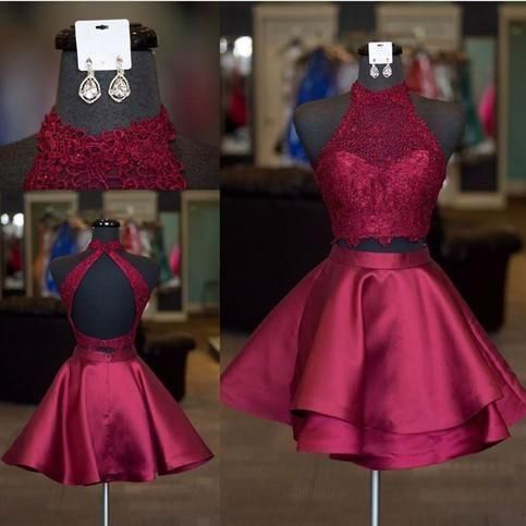 Two Piece Short Homecoming Dress Open Back Graduation Dresses,Dance Dress Sweet 16 Dress ,E0782