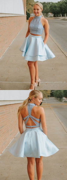 Sweet Light Blue Two Pieces Homecoming Dresses,A-Line Halter Party Dress,Short Graduation Dresses,E0783