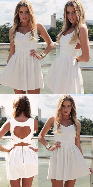 A-Line Scoop Sleeveless Short White Satin Homecoming Dress Open Back,E0796