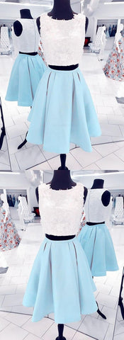 Colorful Lace Babyblue Two Pieces Short Homecoming Dress, Lace Prom Dress.E0798