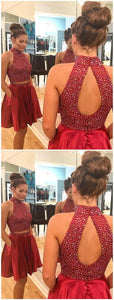 Sexy Two Piece Short Rhinestone Cute Red Homecoming Dresses 2018, ,E0802