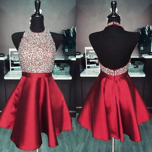 Exquisite Red Beading Homecoming Dresses,Halter Sleeveless Mini Party Prom Dresses,Sexy Open Back Short Graduation Dresses,E0806