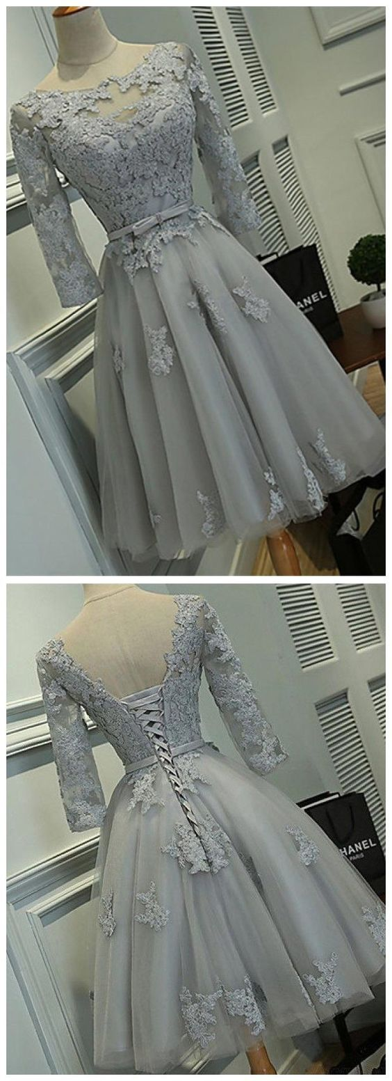 Long Sleeves Grey Lace Short Cheap Homecoming Dresses Online,E0807