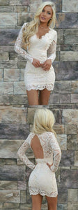 V-neck Lace Tight White Short Party Dress with Long Sleeves,E0808