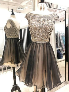 A-line Cap Sleeves Beading Top Tulle Homecoming Dresses, HD0493 A-line Cap Sleeves Beading Top Tulle Homecoming Dresses,E0809