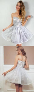 Sweetheart Embroidery Top Sleeveless Tulle Skirt Short Homecoming Dresses,E0814