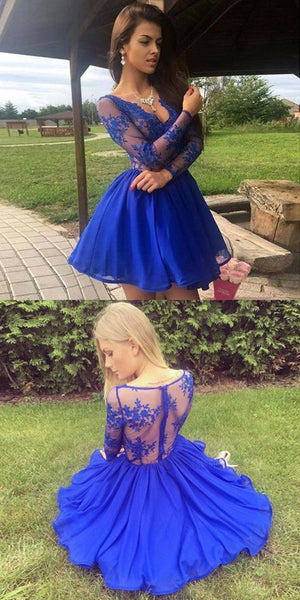 Amazing V-neck Long sleeves Blue Lace Chiffon Short Homecoming dresses,E0820