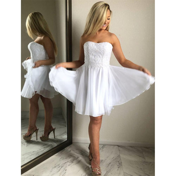 Aline Sweetheart White Lace Appliques Chiffon Short Homecoming Dresses,E0823