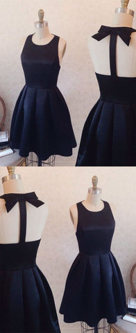 Navy Blue Short Homecoming Dress, Simple Satin Prom Dress, Cute Party Gowns With Bow, Semi Formal Dress ,E0836