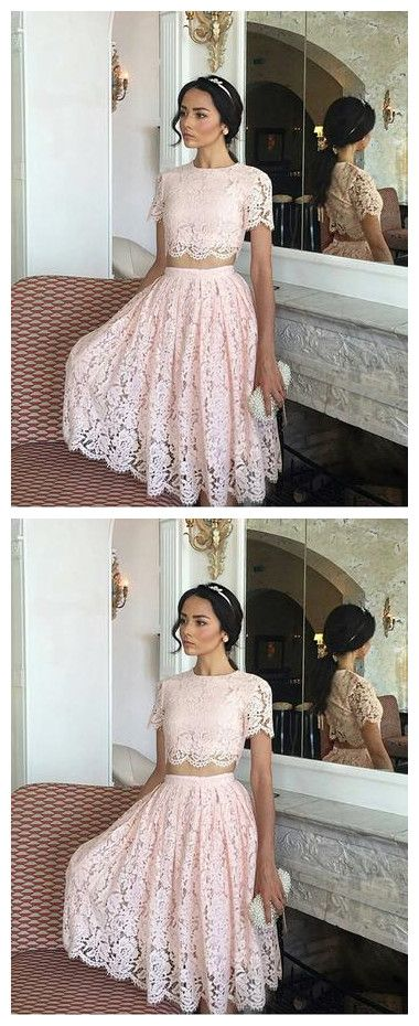 Lace Two Piece Prom Dresses Short Homecoming Dresses,E0847