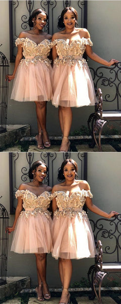 Short Off Shoulder Embroidery Beaded Tulle Prom Homecoming Dresses,E0851