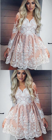 Long Sleeve Homecoming Dresses Lace A-line Short Prom Dress Party Dress,E0852