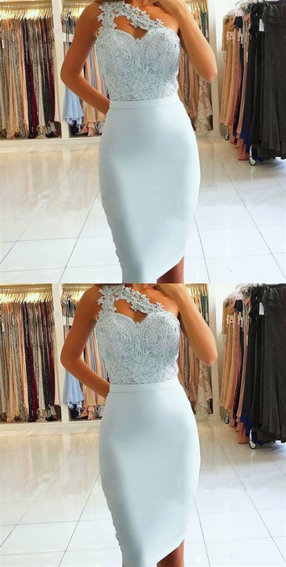 Sheath One Shoulder Light Blue Knee-Length Prom Dress with Lace Beading,E0863