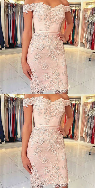 Sheath Off the Shoulder Lace Short Prom Dress,E0864