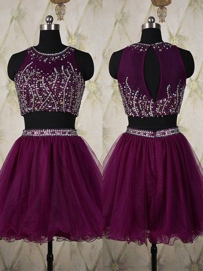 Scoop Neck Grape Tulle Short/Mini Crystal Detailing Two-pieces Prom Dress,E0876