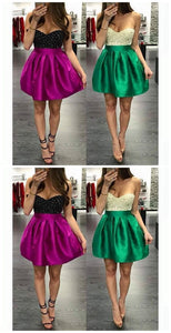 Homecoming Dresses Zippers Sleeveless Beaded Sweetheart Neckline Above-Knee Homecoming Dress,E0878