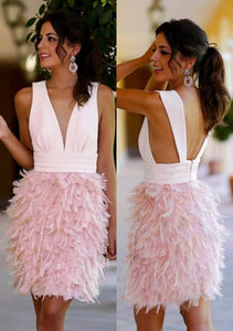 Sheath Deep V-Neck Above-Knee Pink Satin Feathers Homecoming Dress,E0879