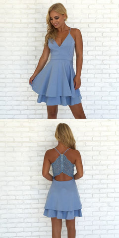Spaghetti Straps V Neck Short Homecoming Dress,Short Prom Gown,E0892