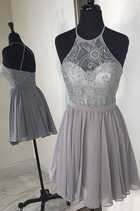 Short Girls Party Dress,Beaded Homecoming Dresses,Silver Homecoming Gowns,E0922