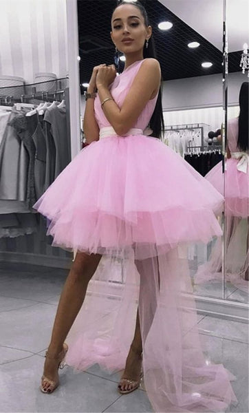 A-Line V-neck Sleeveless Short Pink Detachable Homecoming Dress,E0947