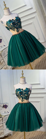 Deep green tulle sweetheart neckline short party dress with appliqués, beaded homecoming dresses,E0950