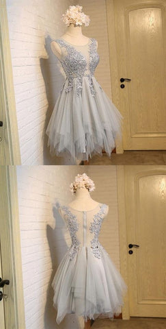 Grey Sleeveless Lace Appliques Homecoming Dresses,Short Cocktail Dress,E0956