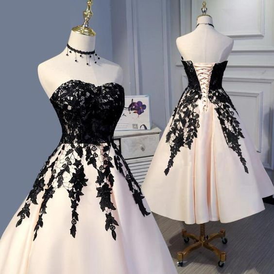 Tea Length Champagne and Black Lace Wedding Party Gown Formal Prom Dress Short 2019,E0959