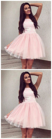 A-Line Bateau Sleeveless Pearl Pink Homecoming Dress with Appliques ,E0965