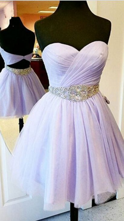 Charming Short Prom Dresses,Lavender Prom Dresses,Chiffon Prom Dresses,Strapless Prom Dresses,Sweetheart Prom Gowns,homecoming Dresses,E0977