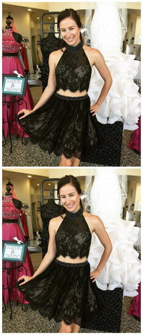 Homecoming Dress,Cocktail Dress,Homecoming Dresses,black Lace Two Piece Homecoming Dresses Short Prom Gowns,E0981