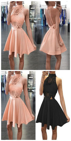 New Arrival Blush Pink High Neck Open Backs Unique Style Homecoming Prom Dresses,E0982