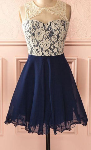 Cute Dark Navy Homecoming Dresses Lace Open Back Short Formal Dresses,E0984
