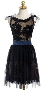 A-line Scoop Homecoming Dress,Short Black Lace Homecoming Dress,Sexy Backless Homecoming Dress With Belt,E0985