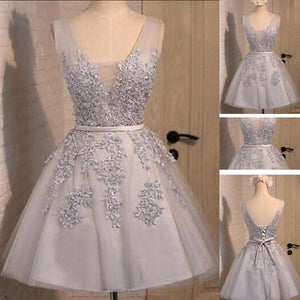 Off shoulder Grey lace Cute Tulle homecoming prom dresses,E0989
