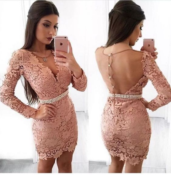 Sheath V-Neck Long Sleeves Blush Lace Homecoming Dress With Pearls,Short Homecoming Dresses , Juniors Homecoming Dresses, Cheap Homecoming Dresses,Dresses For Homecoming,E0996
