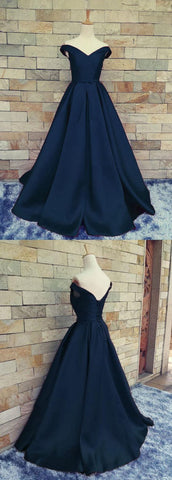 Sexy Prom Dress,A Line Prom Dress, Simple Navy Blue Prom Dress,Long Evening Dress, Prom Dresses,F0005