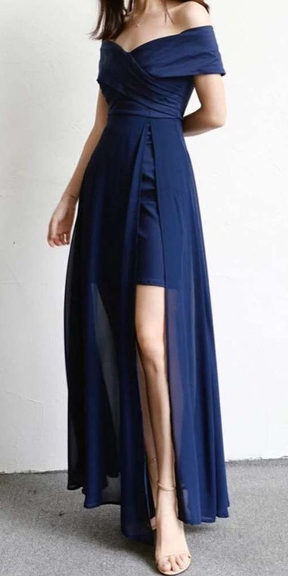 Off the Shoulder Simple Cheap Side Slits A Line Long Prom Dresses,F0007