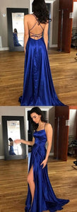Gorgeous Blue A-Line Satin Backless Split Long Prom Dress with Sweep Train,F0009