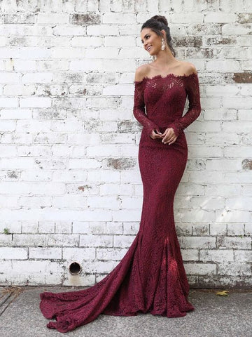 Off Shoulder Mid-sleeve Fitted Lace Mermaid Prom Dresses Evening Dress ,F0010