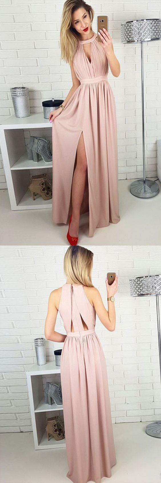 Simple A-Line Jewel Floor-Length Blush Prom Dress , Modest Chiffon Party Dress with Keyhole,F0012