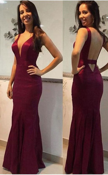 Plunging Neck Slim Prom Dress With Keyhole Back ,F0013