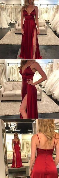 Newest Spaghetti Straps A-Line Prom Dress, V Neck Long Prom Dress, Backless Prom Dress, Sexy Evening Dress Prom Gowns, Formal Women Dress, F0015