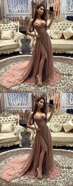 2019 dusty pink prom dress evening dress chiffon a-line high slit cocktail dress ,F0016
