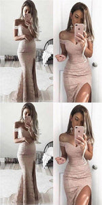 pink lace prom dress mermaid high slit evening dress off the shoulder cocktail dress,F0017